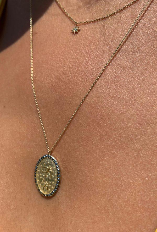 Feidt Paris - Collier icône oiseau - Médaille ovale