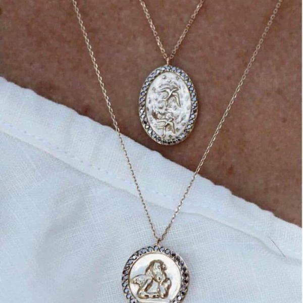 Feidt Paris - Collier icône oiseau - Médaille ronde