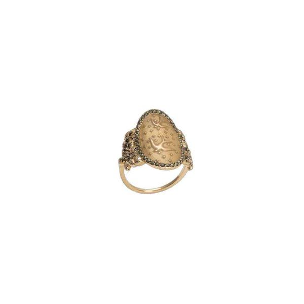 Feidt Paris - Bague icône oiseau – Médaille ovale